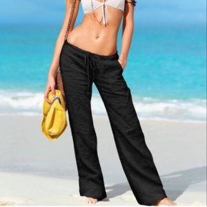 Victoria's Secret Black Linen Beach Pants